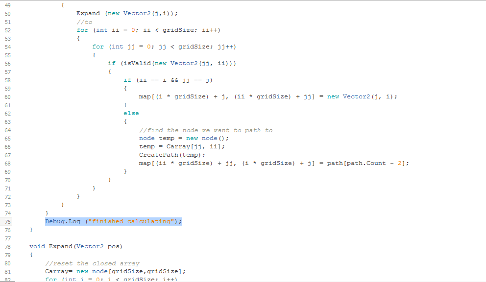 Here is the code that produces the debug message