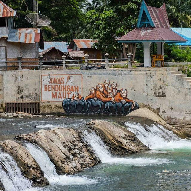 """""""Watch Out! Deadly Dam"""" says the sign. @ernestzacharevic latest intervention in Bukit Lawang reminding everyone that works on proposed Batang Toru dam have already started and its development will mark the end to the Tapanuli Orangutan, the rerest species of apes on the planet with less than 800 individuals left in the wild."""