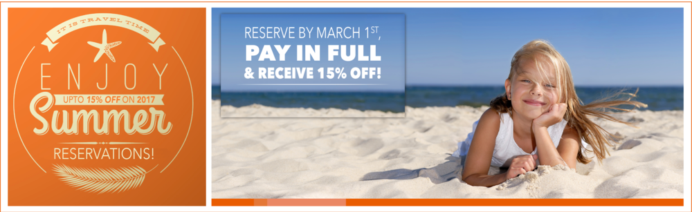 TOTAL 15% OFF PROMO IS VALID ON RESERVATIONS 3 NIGHTS OR LONGER BOOKED AT THE CURRENT MARKET VALUE. IF YOU CURRENTLY HAVE A RESERVATION AND WISH TO ADD DAYS ONTO YOUR STAY TO TAKE ADVANTAGE OF THE 15% OFF PROMO, PLEASE CALL US TODAY. NEW RATES MAY APPLY TO ANY CHANGED RESERVATIONS. NOT VALID WITH PACKAGE RESERVATIONS, OTHER SPECIALs, MONARCH condominium rentals OR GROUP RESERVATIONS. ALL RESERVATIONS ARE BASED ON AVAILABILITY. THE AQUA BEACH HOTEL RESERVES THE RIGHT TO CHANGE, ALTER OR CANCEL SPECIALS AT ANYTIME. DON'T DELAY, 15% OFF PROMO ENDS MARCH 1ST, 2017.PLEASE CALL FOR RESERVATIONS, 1-800-247-4776 OR (609)-522-6507.