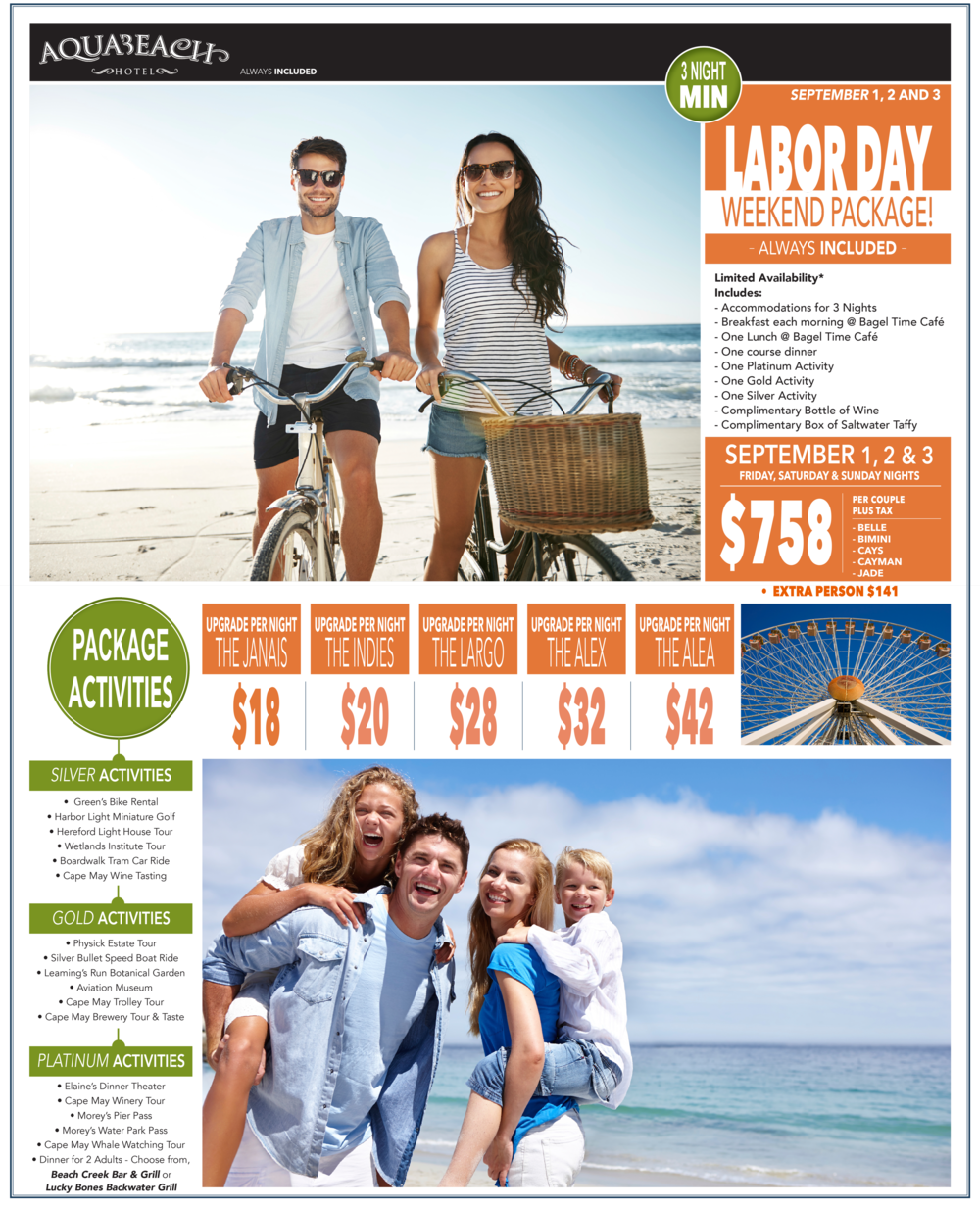 LABOR DAY PACKAGE - September 1, 2 and 3.  upgrades are AVAILABLE! POLICIES:  MUST STAY 3 NIGHTS.  package PRICES ARE SUBJECT TO change.  SORRY, the CONDOMINIUM RESERVATIONS ARE NOT INCLUDED with the labor day package.  THE AQUA BEACH HOTEL RESERVES THE RIGHT TO REVISE OR CANCEL labor day package AT ANY TIME.  a minium deposit of $200 is needed to make a labor day package reservation.  some ACTIVITIES may not be AVAILABLE.  Package reservations must be called in directly to the THE AQUA BEACH HOTEL, 1-800-247-4776 / 609-522-6507.