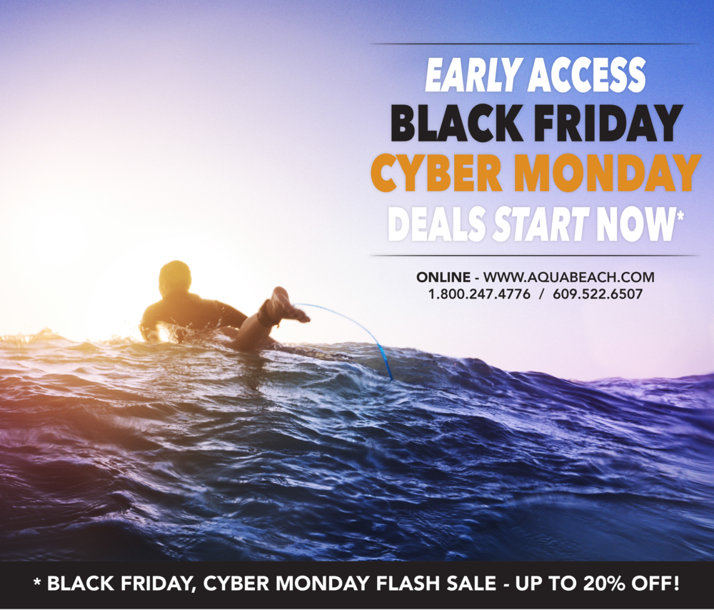 * POLICIES -black friday, cyber monday flash sale valid from 11/22/2017 thru 12/01/2017. Reservations must be 3 nights or longer. reservations must be paid in full upon making your reservation to receive 20% OFF your nightly room rate. This promotion is valid for a very limited time.some condominium units do not apply.The Aqua Beach Hotel reserves the right to change, alter or cancel black friday / cyber monday 20% off flash sale at any point. not valid on package reservations, other specials or group reservations.you can make your reservations directly online or call us 1-800-247-4776 / 609-522-6507.