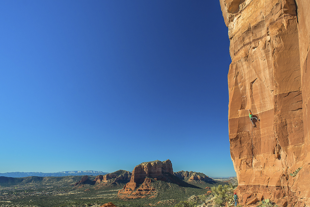 Jeff Snyder rock climbing in Sedona, Arizona.