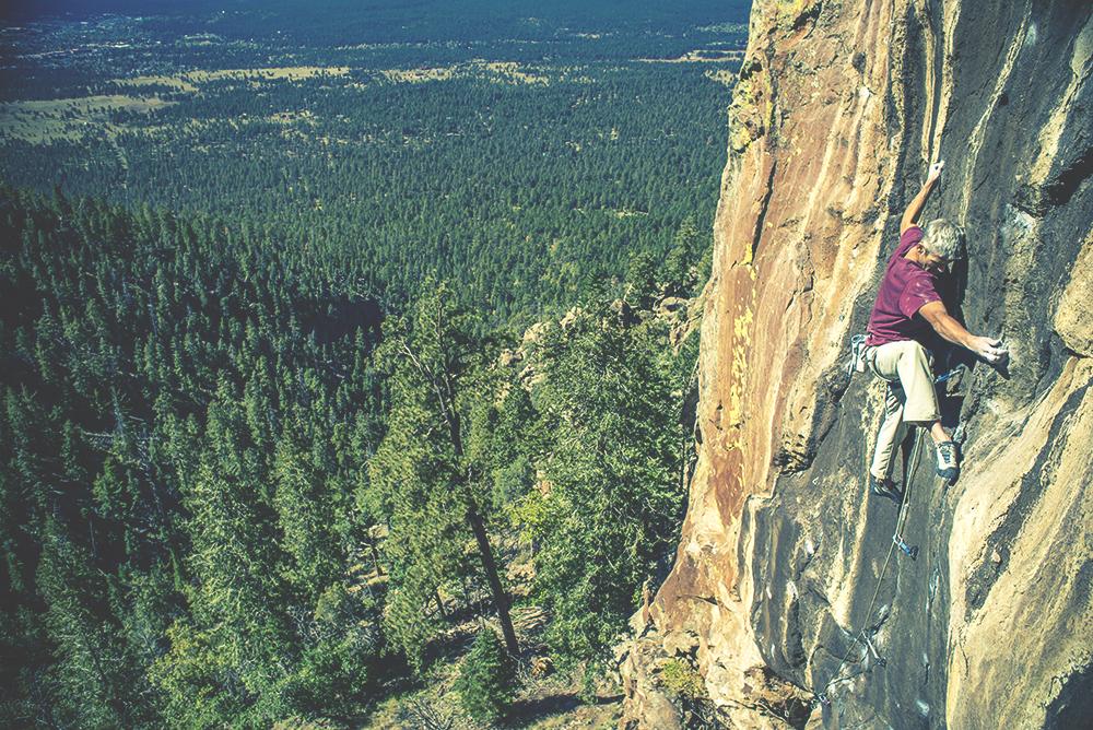 Jeremy Shlick rock climbing at the Upper Solitude, Arizona.