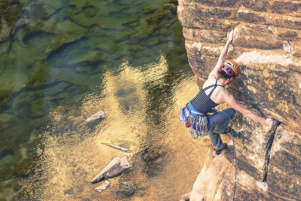 Lorna Illingsworth rock climbing in Winslow, Arizona.