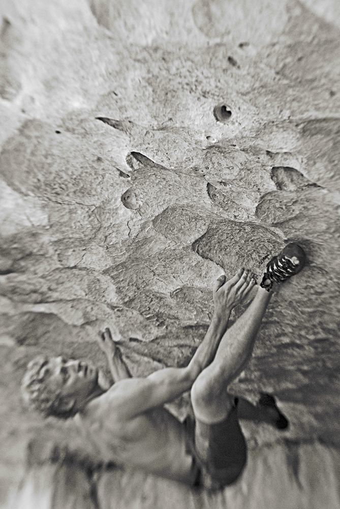 Jake Dayley rock climbing at the Priest Draw, Arizona.