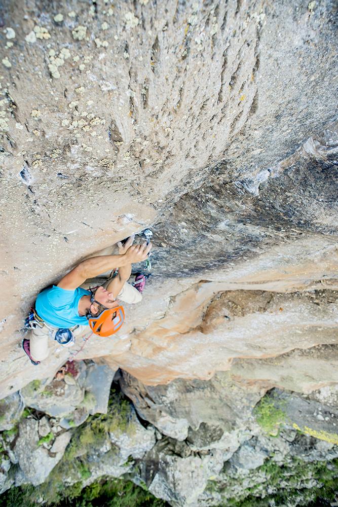 Blake trad climbing at Volunteer Canyon, Arizona.