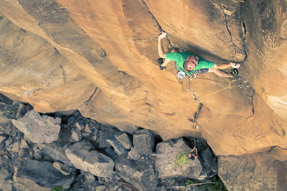 Matt Swartz rock climbing at the Paradise Forks, Arizona.
