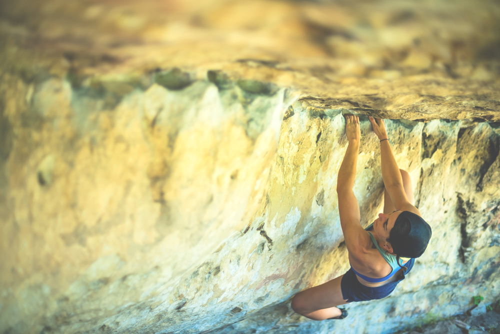Rena Reyes bouldering at the Priest Draw, Arizona.
