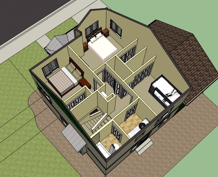 An example of the 2nd level interior floor plan for town homes   in the Poplar Grove development.  (Artist's rendering, sizes and elevations may vary)