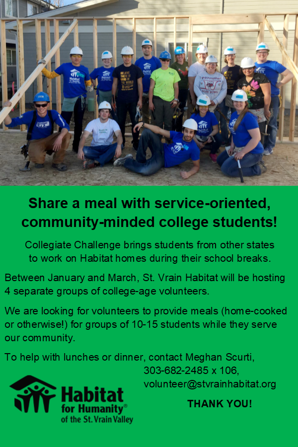 1/3/19 - Share a meal with service-oriented, community-minded college students.  Interested parties may email  Meghan Scurti .