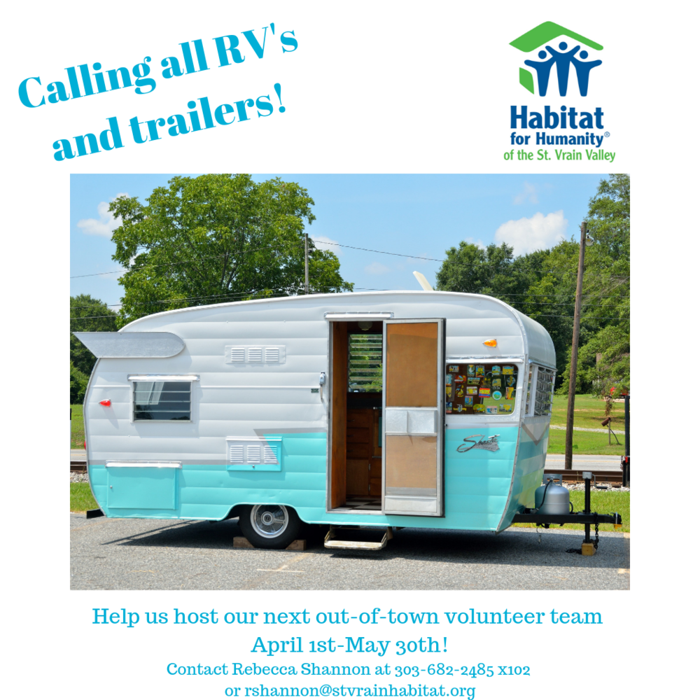 We need your help!  We need help housing our  AmeriCorps  NCCC team members between April 1-May 30th!  Berthoud Habitat for Humanity  has dedicated facilities to support Trailers and RV's when they have out of town volunteers.  Do you or your circle of friends have something that we could borrow for this period of time?  Let us know ASAP. Please contact Rebecca Shannon at 303-682-2485 x102 or  rshannon@stvrainhabitat.org  if you or your friends can help us out.