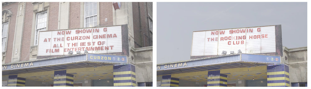 THE CINEMA INTERIOR SHOTS WERE SHOT at 'CINEWORLD' (MARINA) BUT The EXTERIOR SHOT is actually 'the curzon Cinema' in eastbourne. i preferred the look of the old style cinema board.