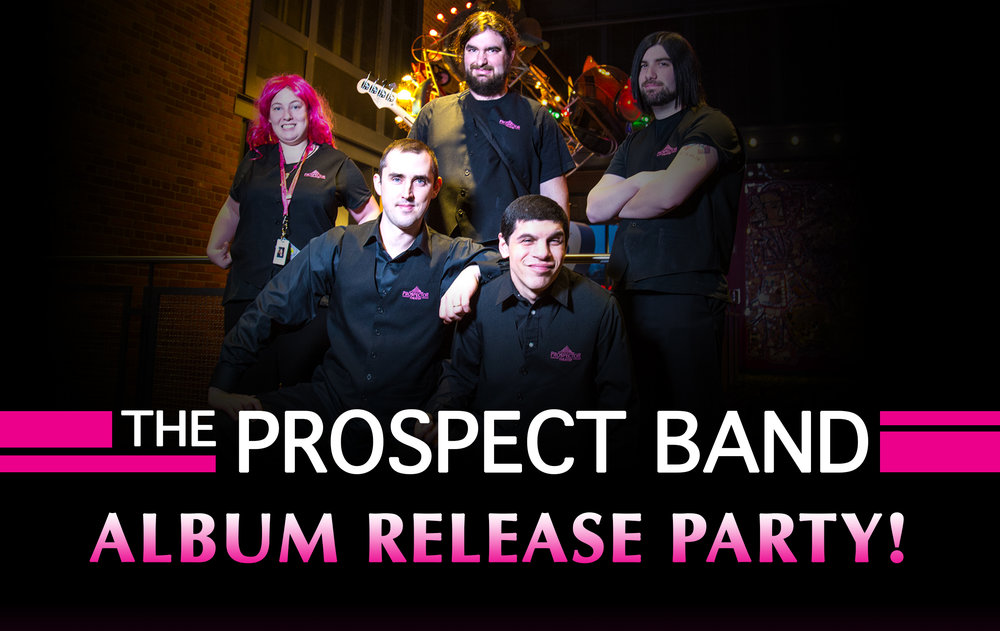 The Prospect Band, featuring (left to right): Rachel Wise, Jeff Bonistalli, Max Shapiro, Thomas Devittoro, & Ryan Carnage.