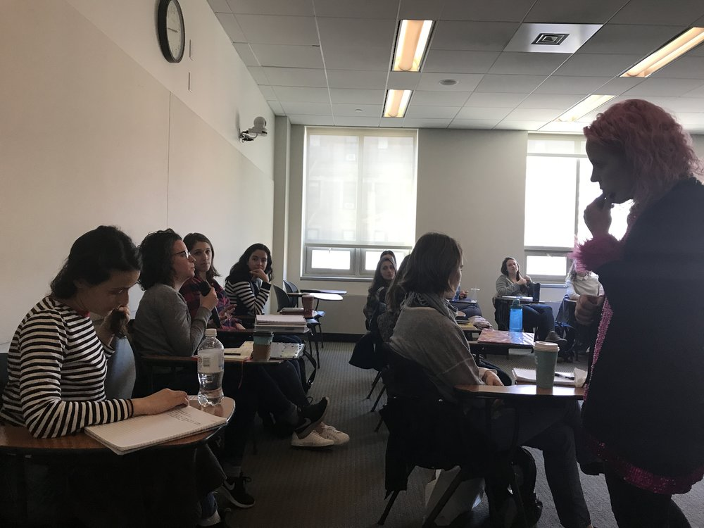Prospector Founder and Executive Director, Valerie Jensen, answers great questions from students in Columbia University's Master of Social Work classroom.