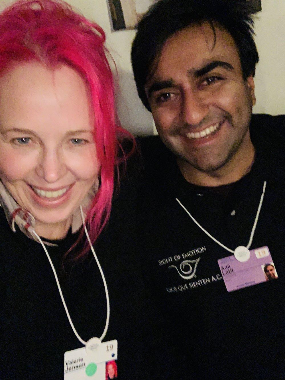 """Valerie and her """"Dining in the Dark"""" leader, Adi, in Davos, Switzerland."""