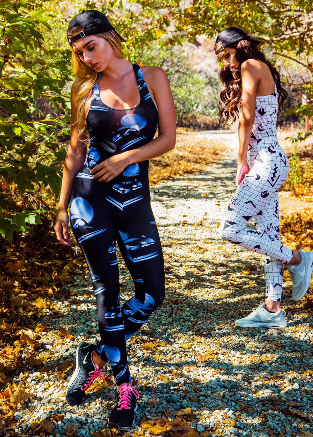 LEFT: MONDO LEGGINGS + RACERBACK/ RIGHT: ORCA LEGGINGS + RACERBACK