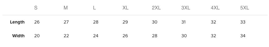 Size Chart - Mainframe Sweatshirt