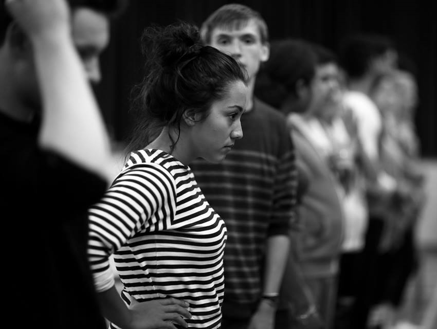 Grace in rehearsal with  Freddie Cox  and the company  (Photo courtesy of  Front of House Photography  )
