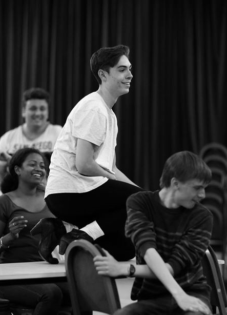 Jamie in rehearsal with  Sabrina Hinchliffe ,  Alex Kirkham  and  Freddie Cox   (Photo courtesy of  Front of House Photography )