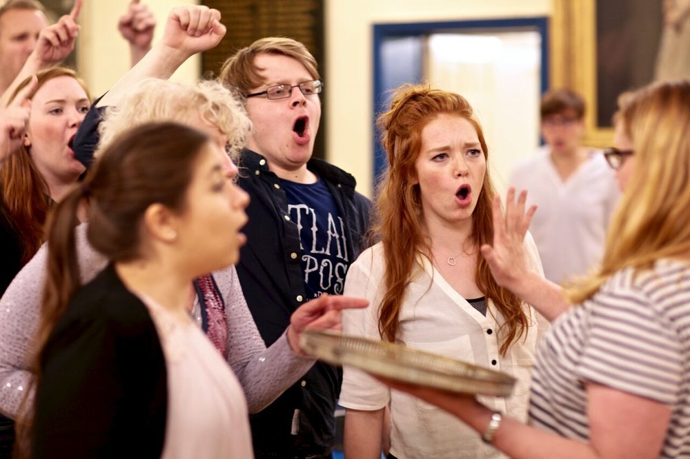 Ellie in rehearsal with Anna Tippelt, Jon Bingham and Sarah Jones (Photo courtesy of  FRONT OF HOUSE PHOTOGRAPHY )