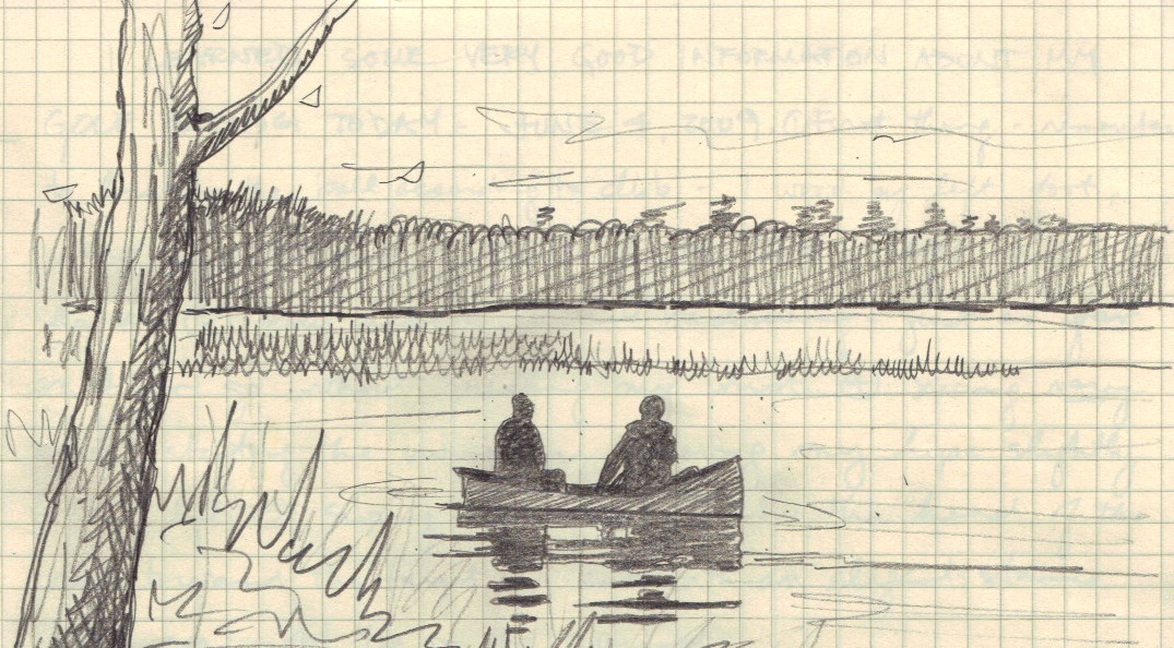 Cathy and Karen canoe drawing