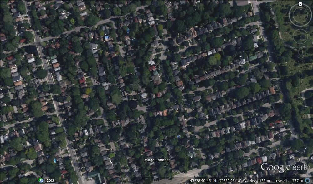 A Google Earth image of an area in Toronto, Canada.