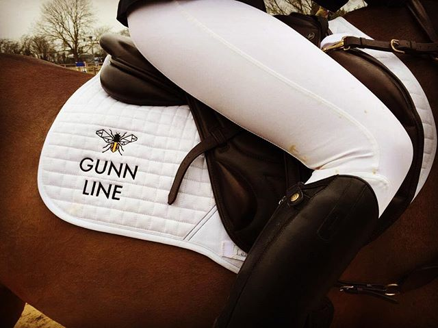 Our sponsored eventer @turpinseventing getting some extra lift from the Gunn Line bee over the poles in the showjumping at Cherwell competition centre. #showjumping #britches #eventing #sponsored #fashion