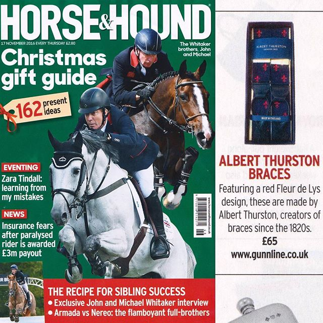 Our Fleury de Lys braces in @horseandhound magazine. #mensaccessories #mensgoods #love #mensstyle #instagood #style #british #present #britishmade #fashion #fashionblogger #gentlemen #winter #bespoke #luxury #menswear #huntball #handmade #uk #shooting #fishing #stalking #countryside #sport #seasons  #blacktie #horseandhound
