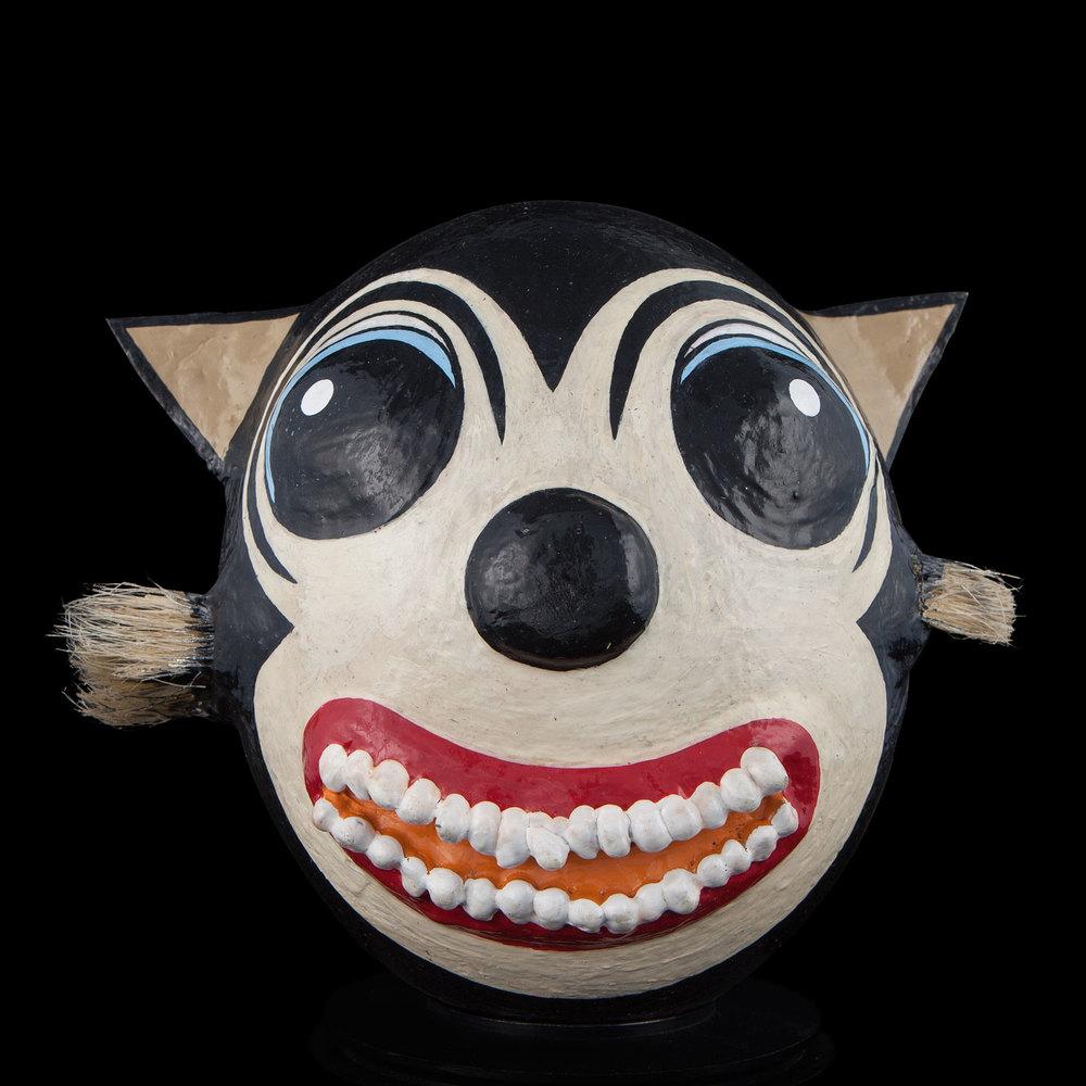 Strange Cat. Enamel Paint, Tin, Paint Brush Bristles & Corn
