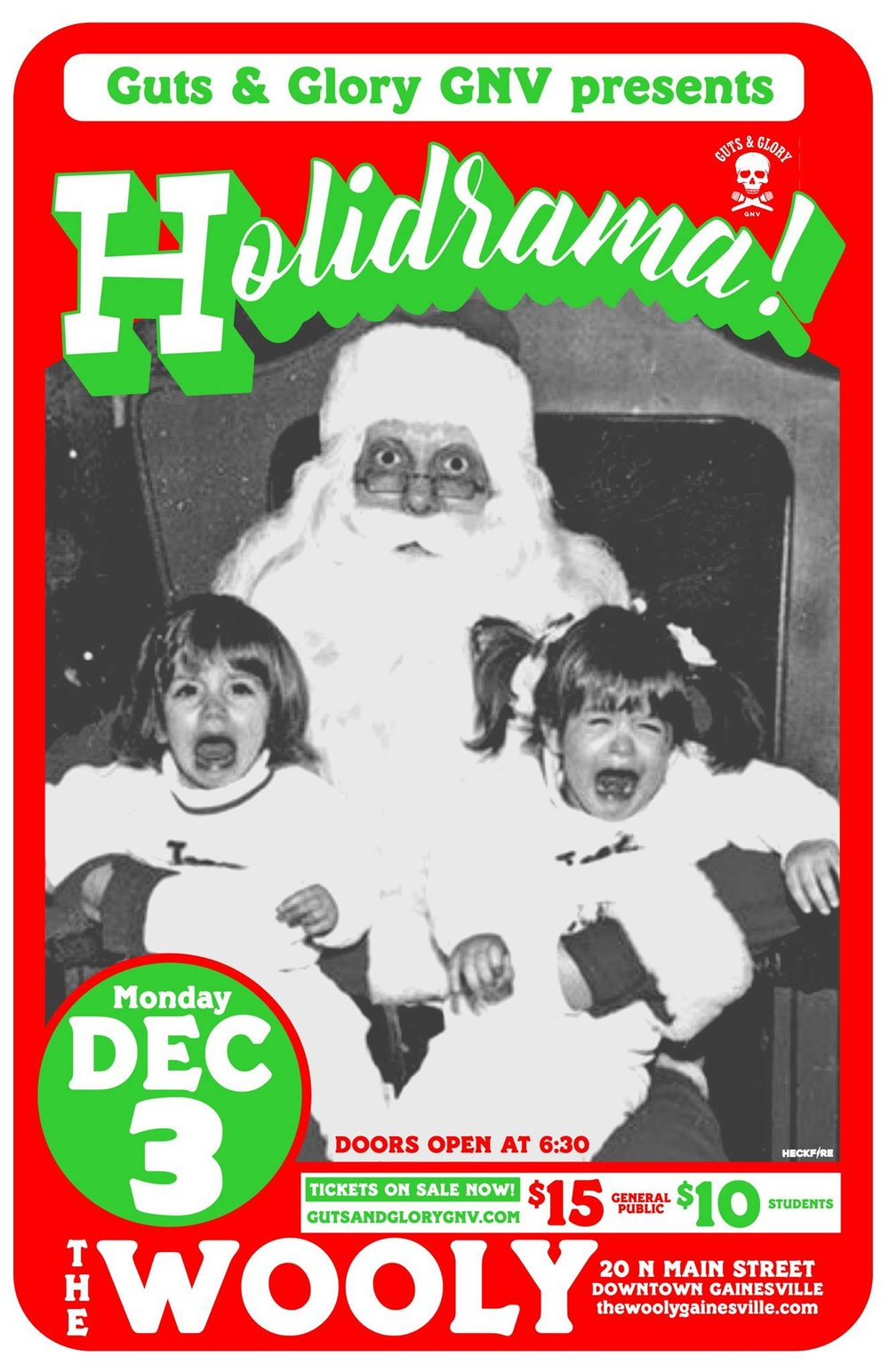 Guts & Glory GNV is back to bring you a night of the holiday spirit from - uhhh, maybe a different angle. We've all got those strange holiday stories that involve gifts gone wrong, the black sheep of the family, or maybe the turkey that burned in the oven....again. Tonight will be a celebration of those tinseled tales, and we'd love to have you along for the ride!