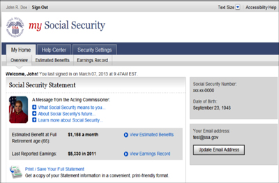 My Social Security Online Account Access Center For Financial