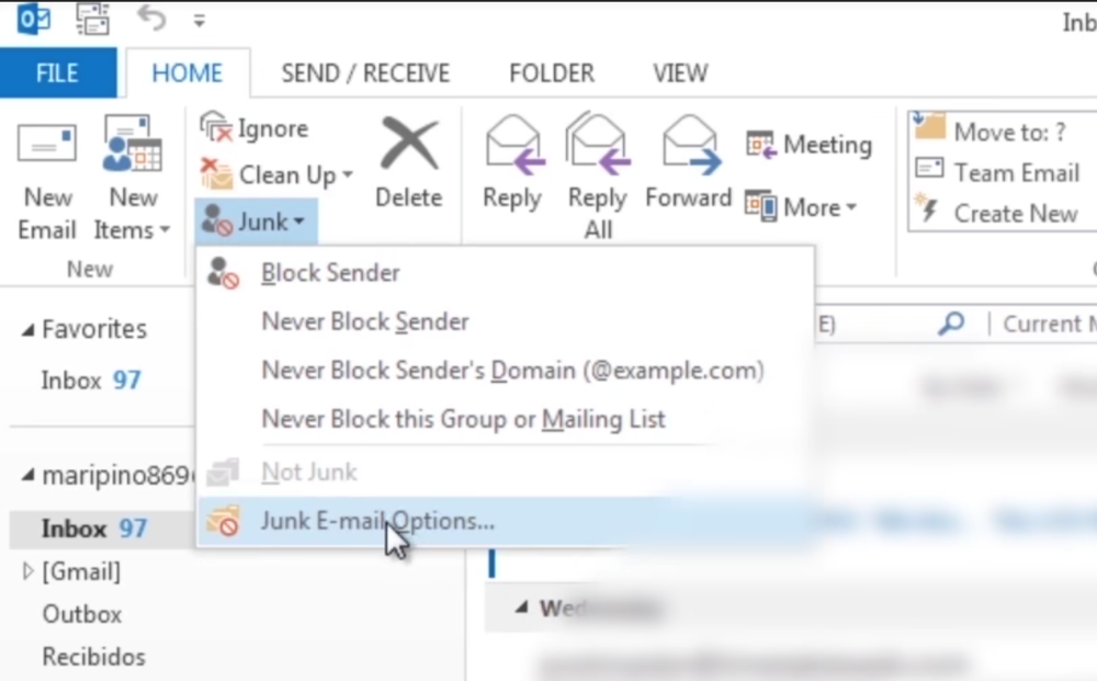 - Find the Junk Mail options and preferences