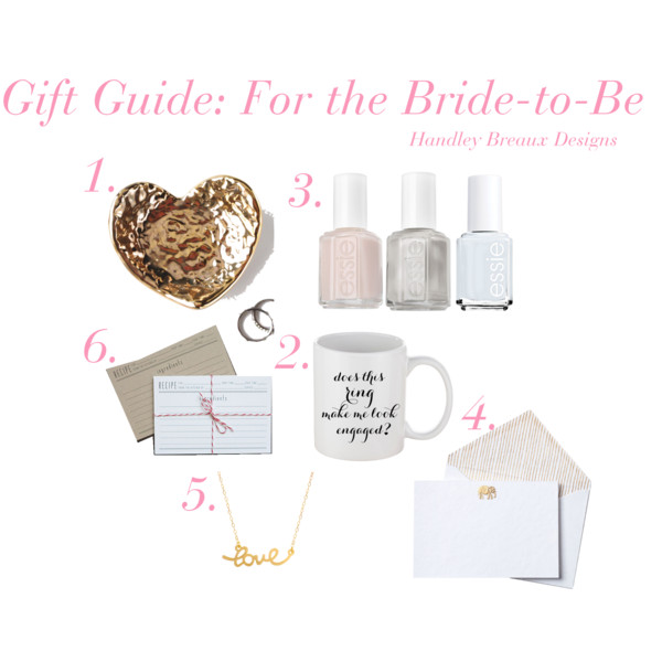 1.  Susan Gordon Pottery Ring Dish | 2. Does This ring Make Me Look Engaged? | 3. Essie Nail Polish  | 4. Thank You Notes for all of the Presents | 5. Love Necklace | 6. Recipe Cards to share Holiday Recipes