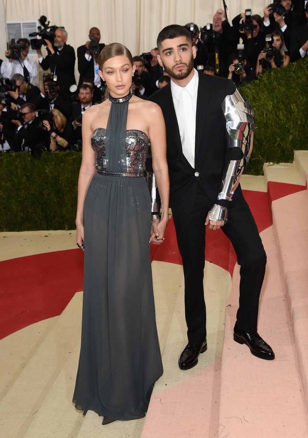 Gigi Hadid in Tommy Hilfiger , Zayn Malik in Versace