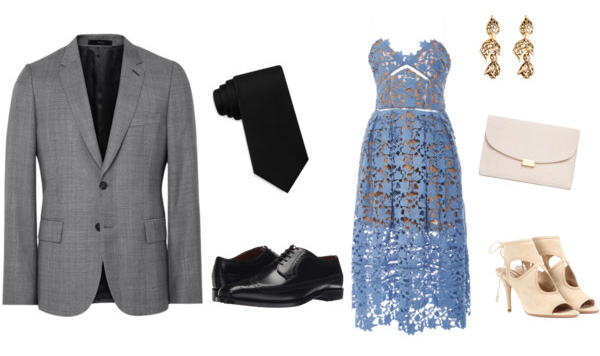 Men's Attire: Suit| Tie | Shoes // Women's Attire: Dress | Earrings | Clutch | Shoes