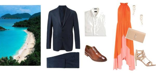 Men's Attire: Suit | Shirt | Shoes // Women's Attire: Dress | Earrings | Clutch | Shoes