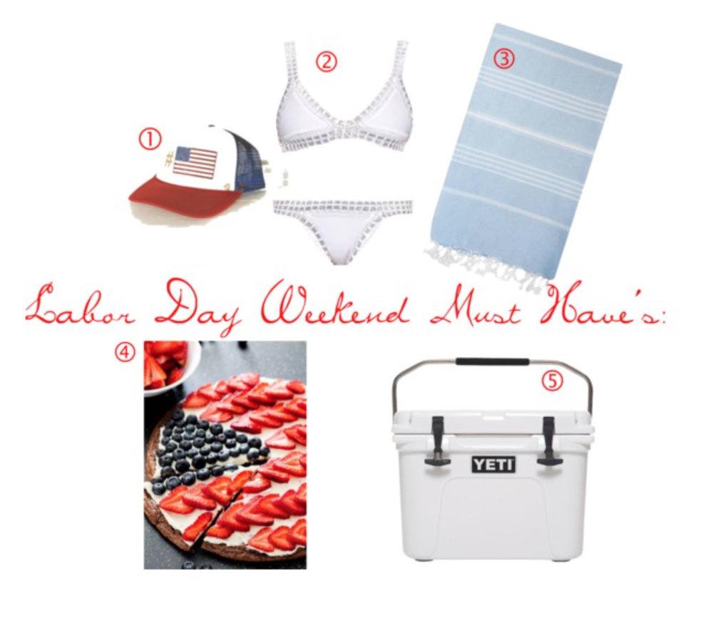 1. #USA Hat | 2. Crochet Bikini | 3. Turkish Towel | 4. Berry Pie | 5. Yeti Cooler