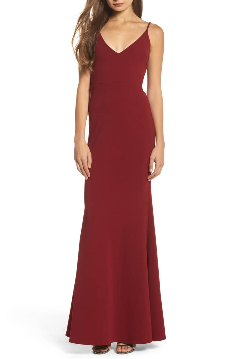 Shop  this dress  on Nordstrom's website. We think it would look amazing with a fur coat for those chilly fall nights!