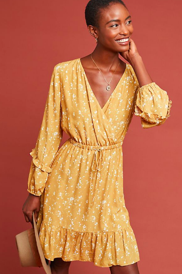 Prints are very popular this season! Shop  this mustard dress  at Anthropologie.