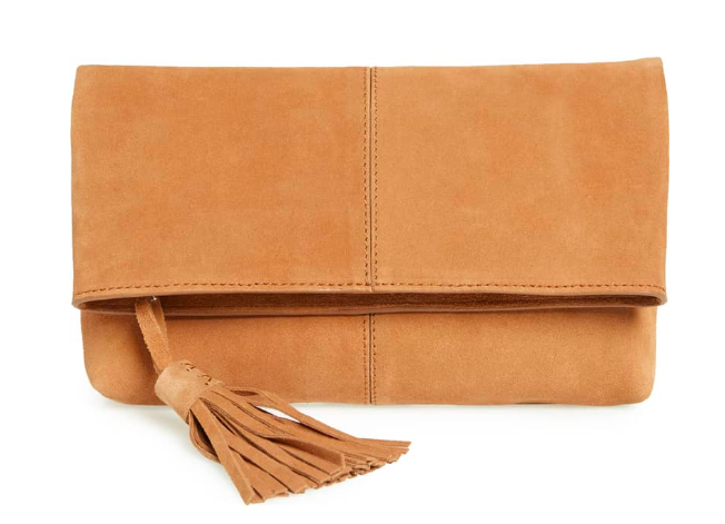 This  suede clutch  is perfect for more casual events! It comes in 5 different colors.
