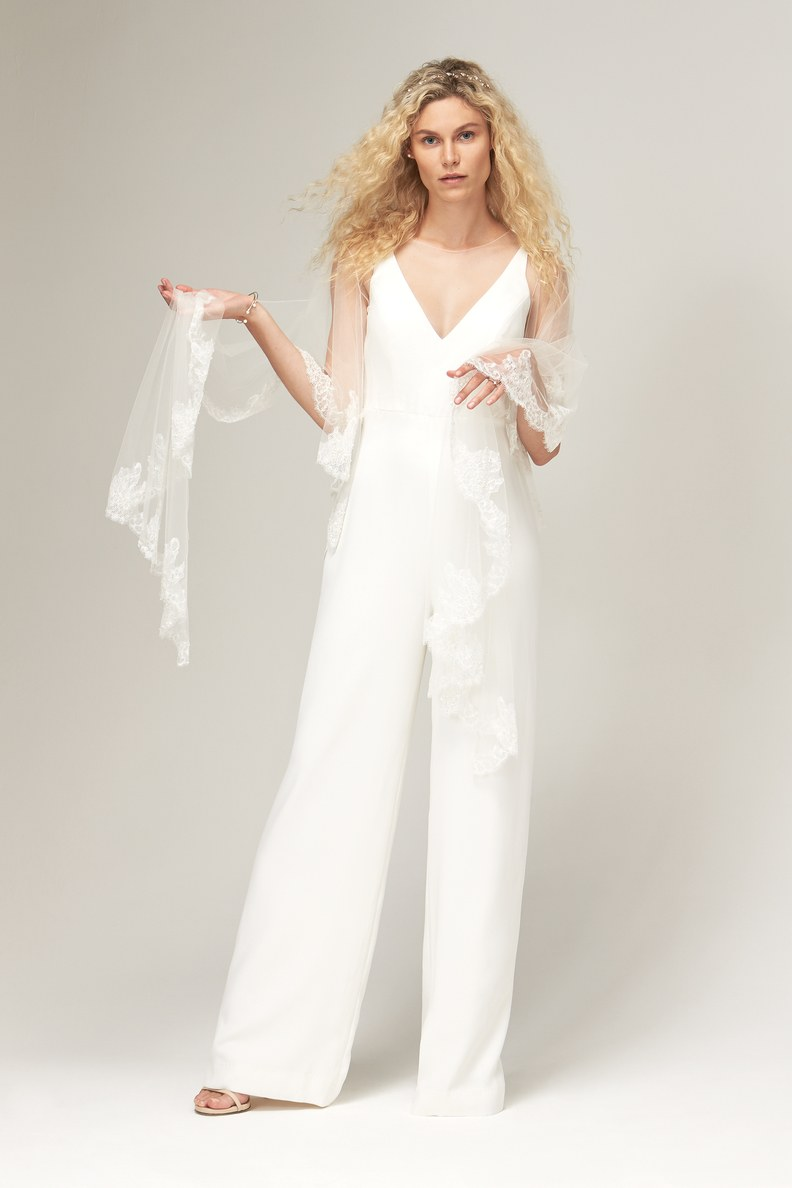 This Bridal jumpsuit by Savannah Miller is another one of our favorites. A jumpsuit is a fun, versatile piece to style for a rehearsal dinner or bridal shower!