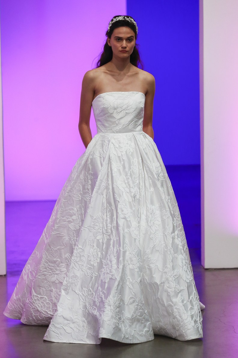 One word: texture. This look is so beautiful on its own. Wedding dress byGracy Accad