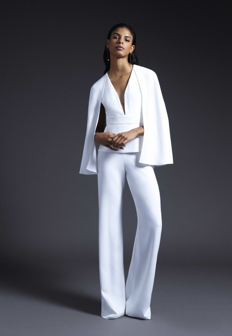 Jumpsuits are all the rage this season and they offer such a versatile look for a rehearsal dinner or wedding shower. The jumpsuit looks gives a more casual feel but keeps the traditional white that we love so much.