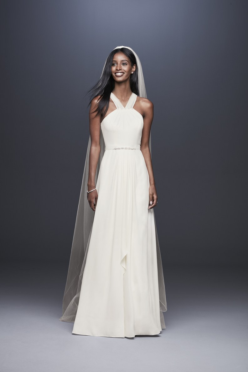 Halter necklines are huge this season! This look has always been super flattering.