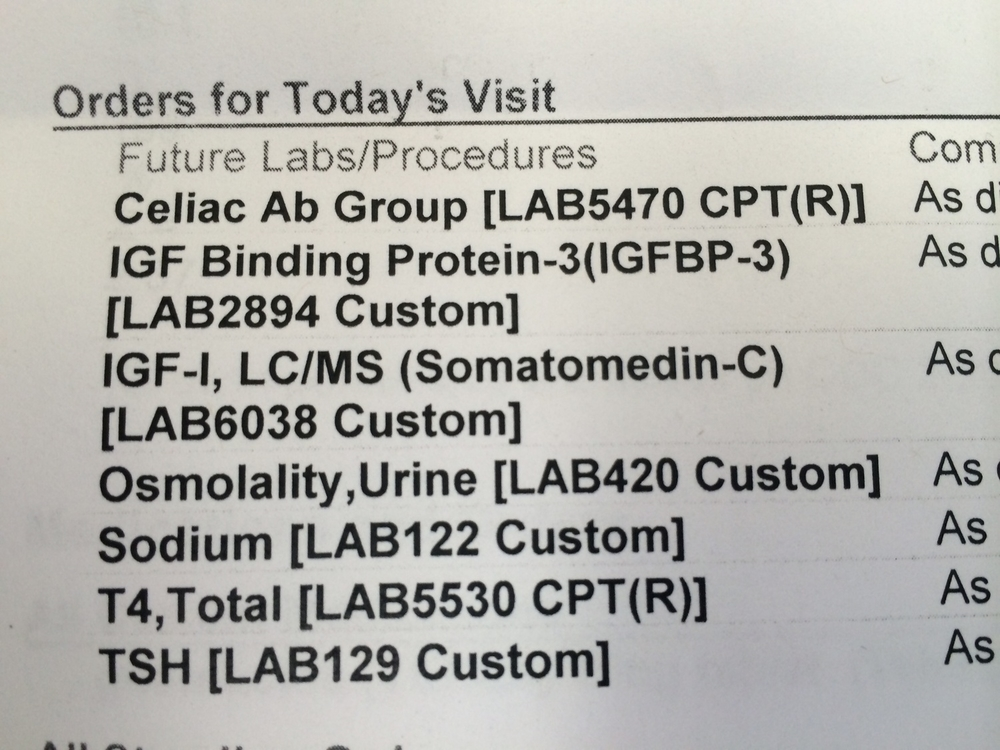 Blood labs ordered by endocrinologist at our first visit.