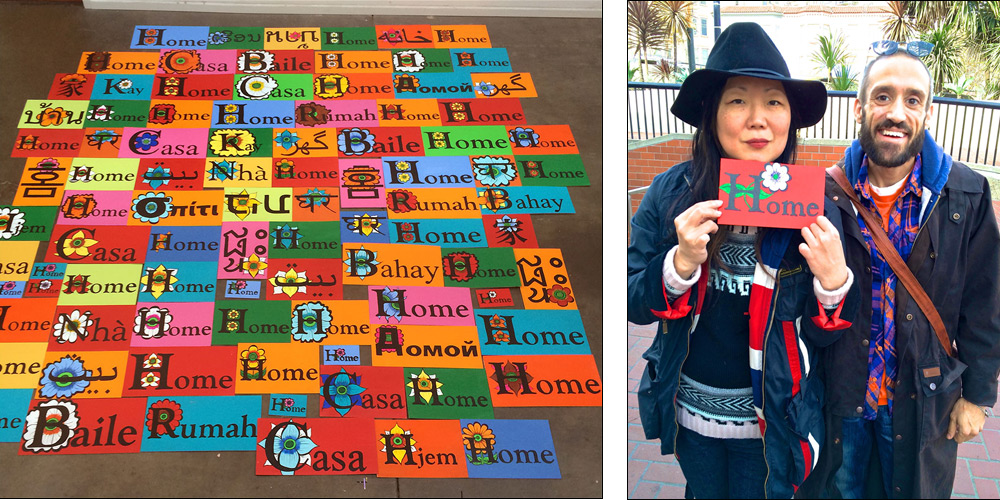 "L -> R: Signs painted during Wilson and Statton's residency at ATA in October; Margaret Cho supporting ""Better Homes & Gardens Today"" with her custom-made mini home sign."