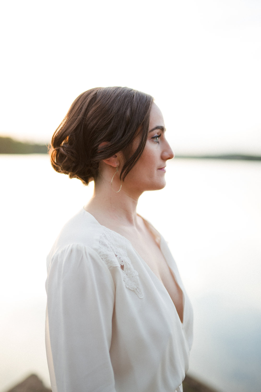 boho bride lake elopement
