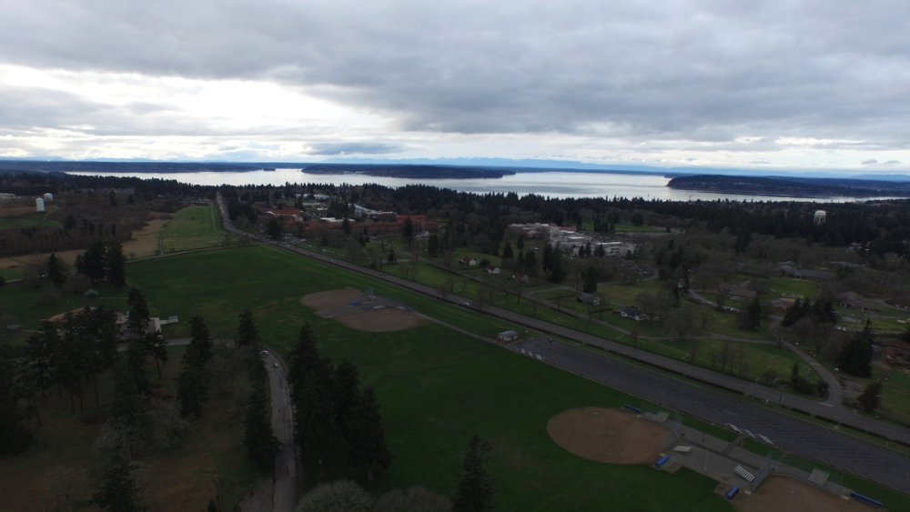 A view of the Puget Sound from Lakewood, WA at 200 feet.