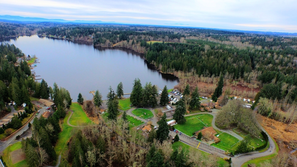 Camp Lakeview in Kapowsin WA viewed from 300' Inspire 1 Drone
