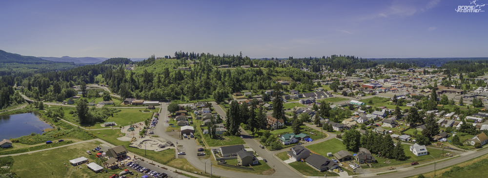 Panoramic view of Eatonville, WA from Inspire 1 drone.